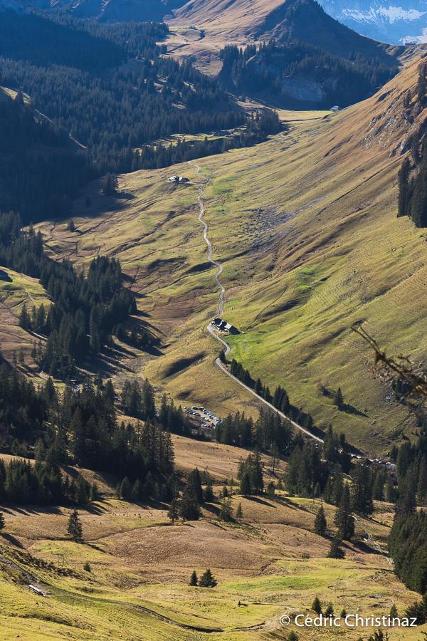 Sentier géologique des Gastlosen, chalet du soldat, chalet du régiment, vallée du Petit Mont